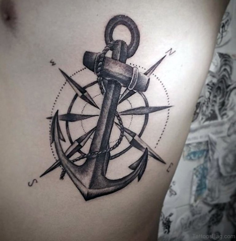 anchor over compass tattoo design for men