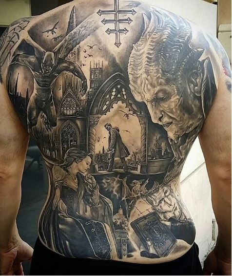 angel and demon back tattoo for men