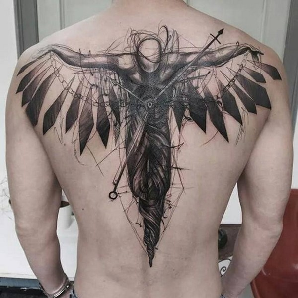 angel sketch back tattoo for men