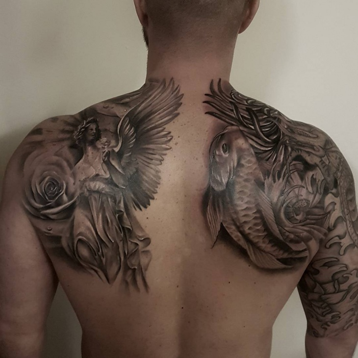 angel vs serpent back tattoo for men