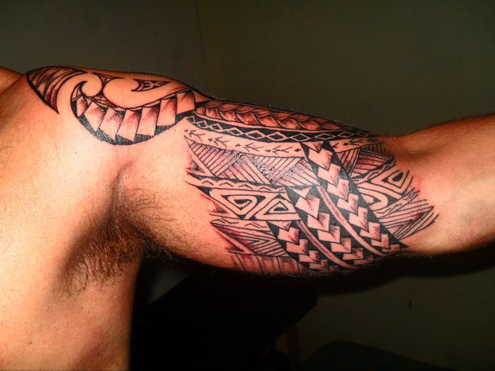 aztec bands inner bicep tattoo for men