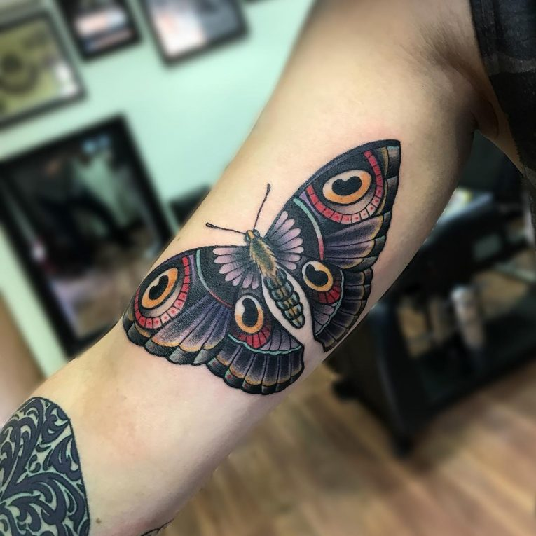butterfly inner bicep tattoo for men