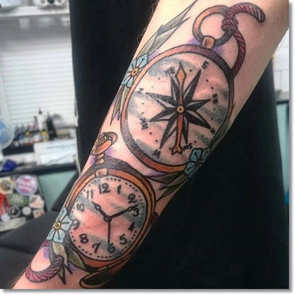 colored clock and compass tattoo design for men