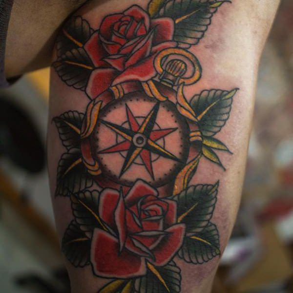 colored rose and compass tattoo design for men