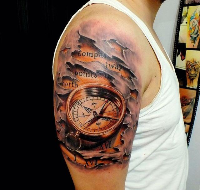 compass always points north compass tattoo for guys