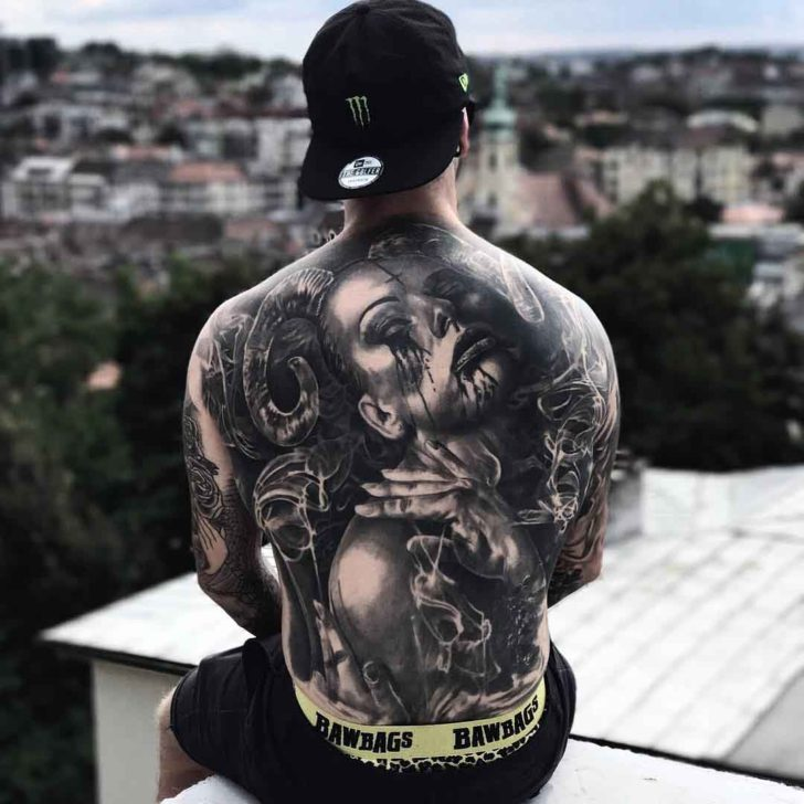 death woman back tattoo for men