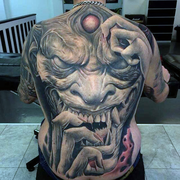 devil back tattoo for men