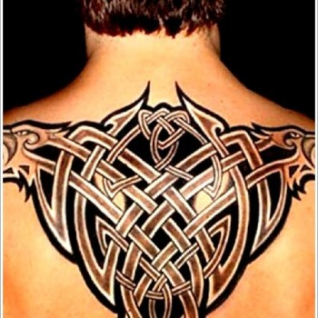 eagle and tribal design back tattoo for men
