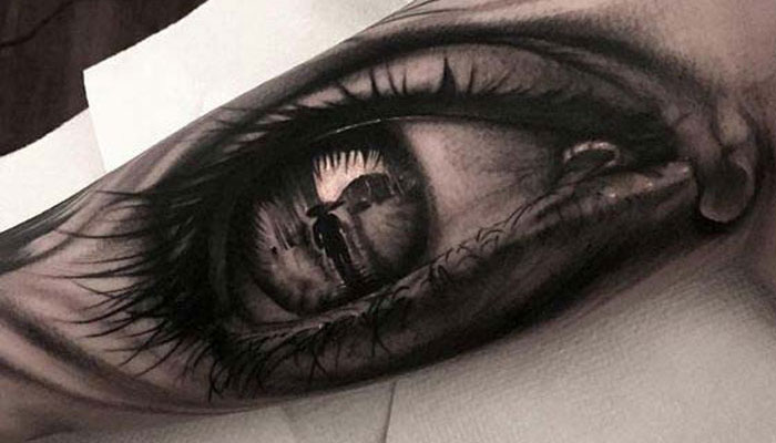 eye with reflection inner bicep tattoo for men