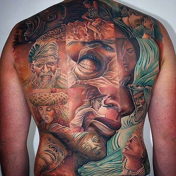 faces back tattoo for men