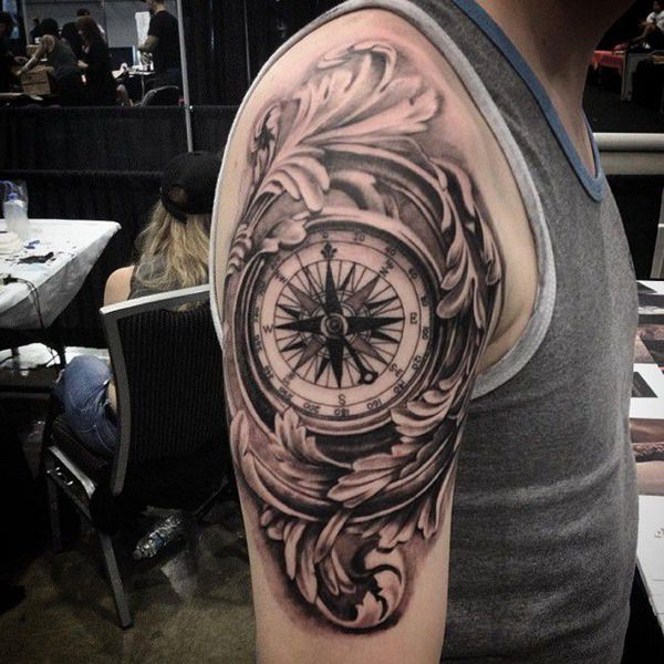 flowers and compass tattoo for guys