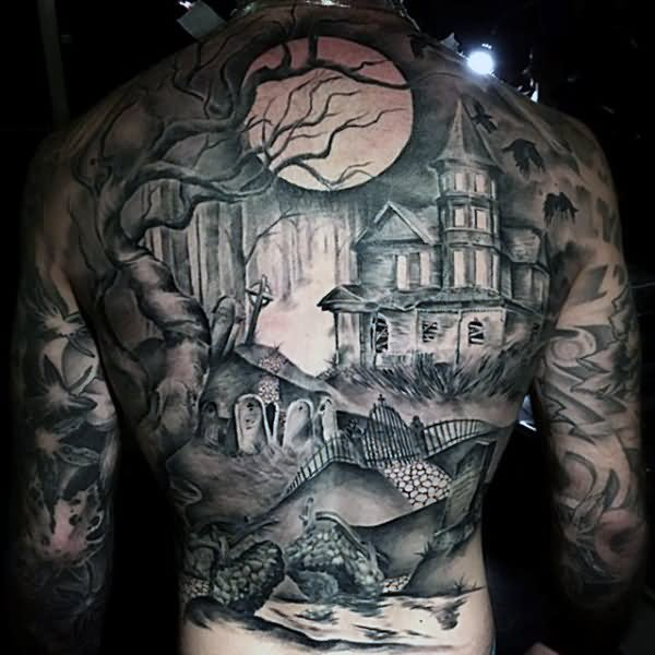 haunted house back tattoo for men