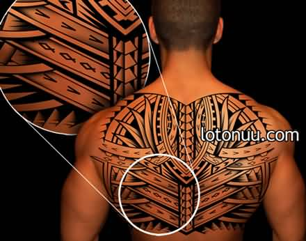 interesting back tattoo for men