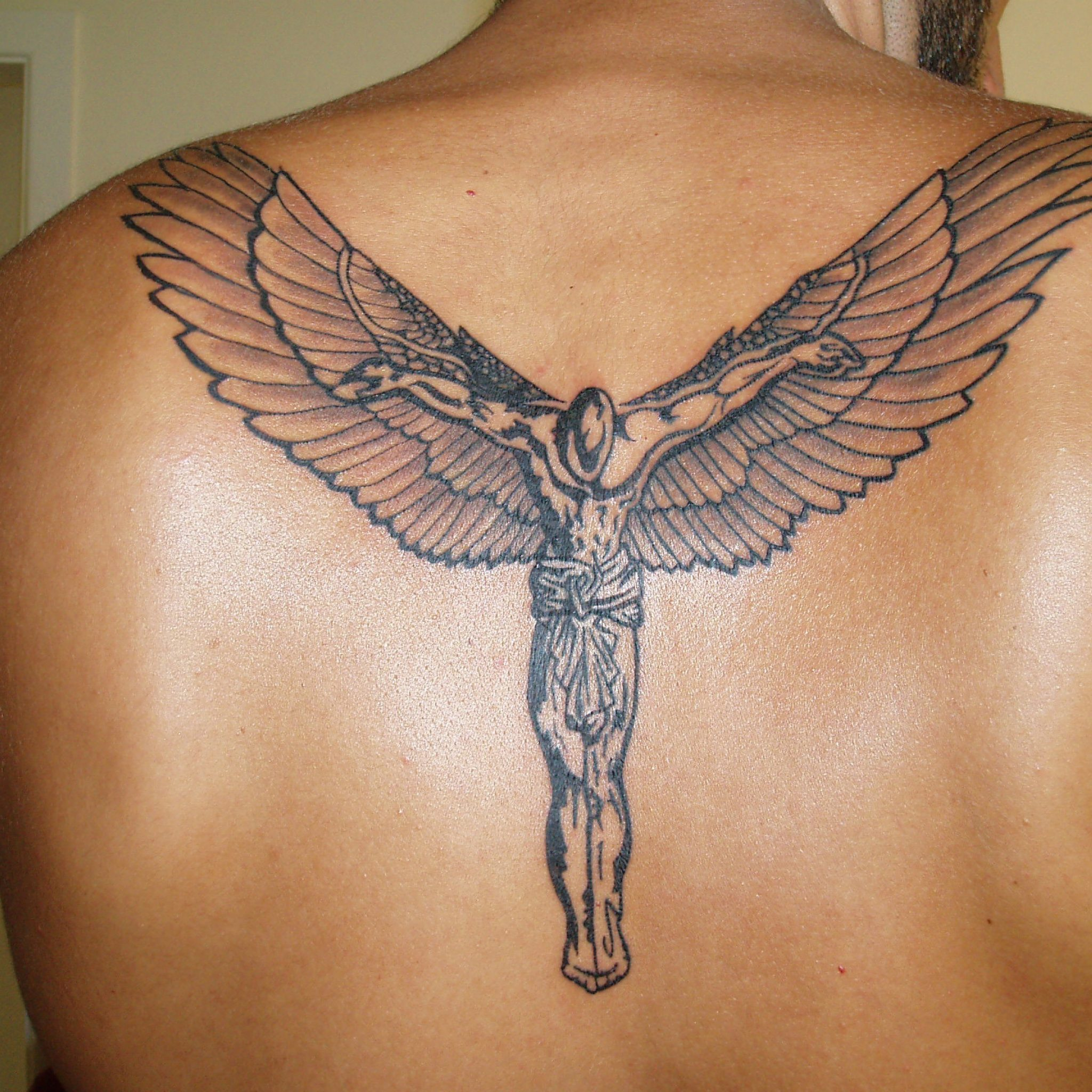 jesus with wings crucifix back tattoo for men