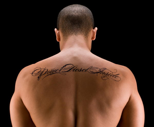 lettering back tattoo for men