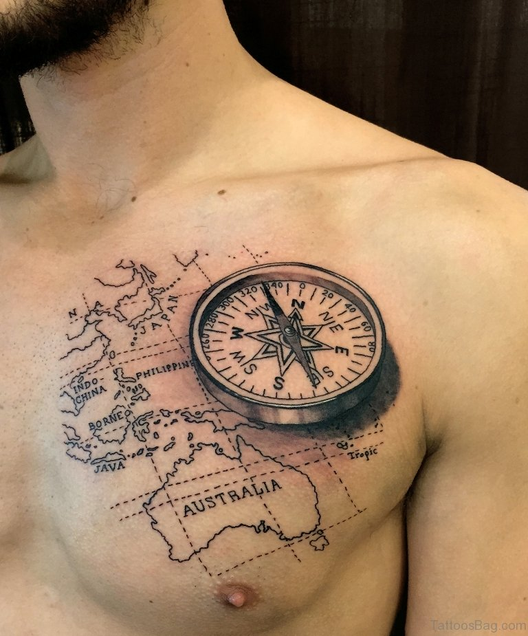 map and compass tattoo design for men