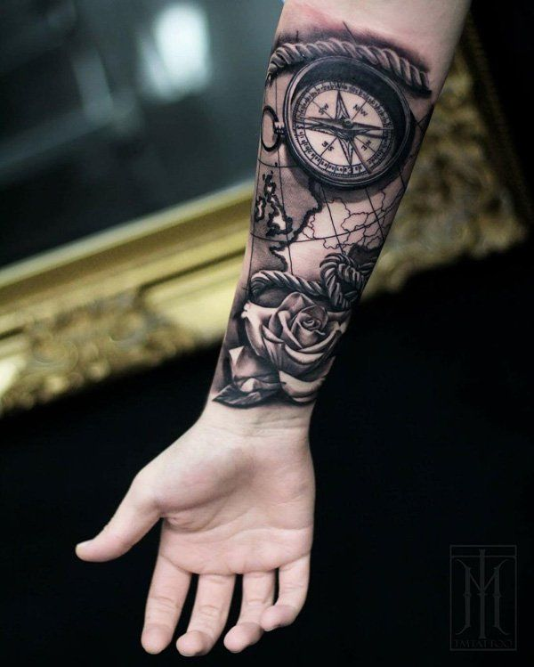 map and compass tattoo for men