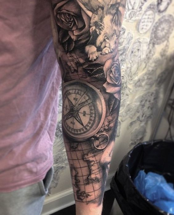 map sleeve compass tattoo for men