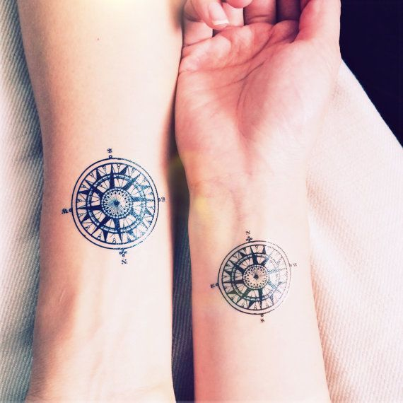 matching compass tattoo for men and women