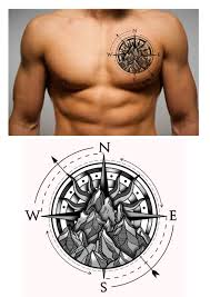 mountains compass tattoo for men