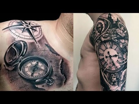 open compass tattoo for guys