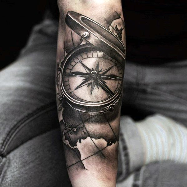 open compass tattoo for men