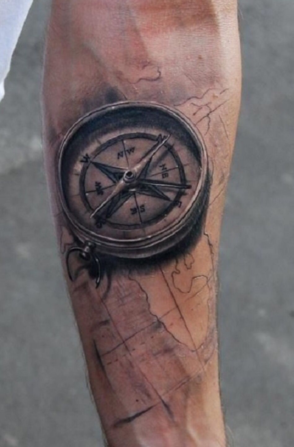 realistic compass tattoo for guys