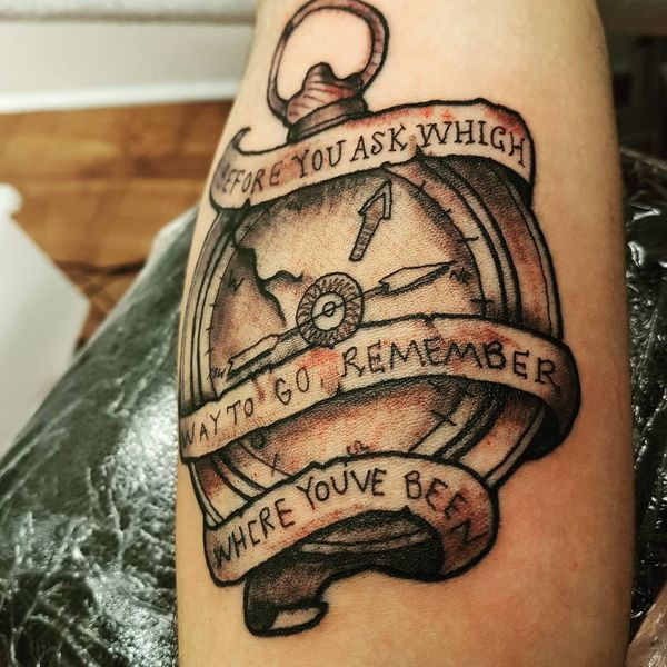 remember where you've been compass tattoo for guys
