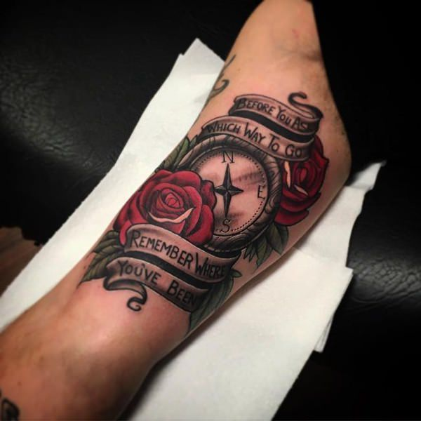 rose and compass tattoo for men