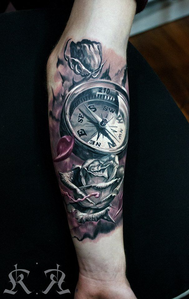88aa5dc0c ... roses and compass tattoo for guys ...