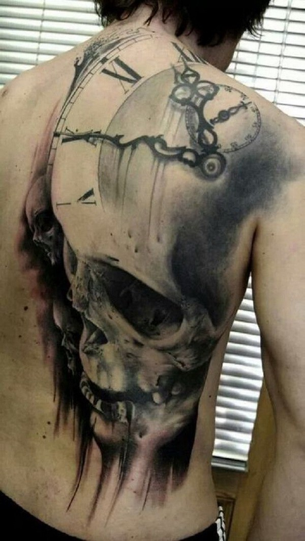 skull and clock back tattoo for men