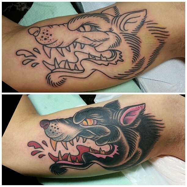 snarling wolf inner bicep tattoo for men
