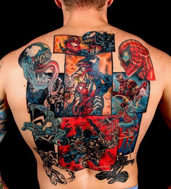 spiderman and venom back tattoo for men