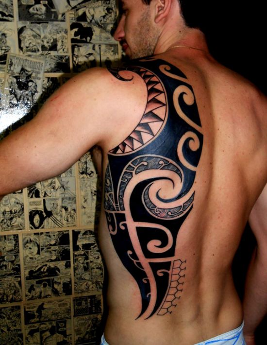 tribal half back tattoo for men