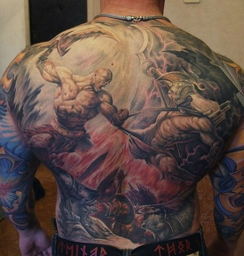 warring titans back tattoo for men