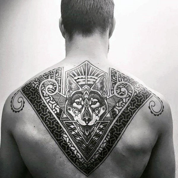 wolf back tattoo for men