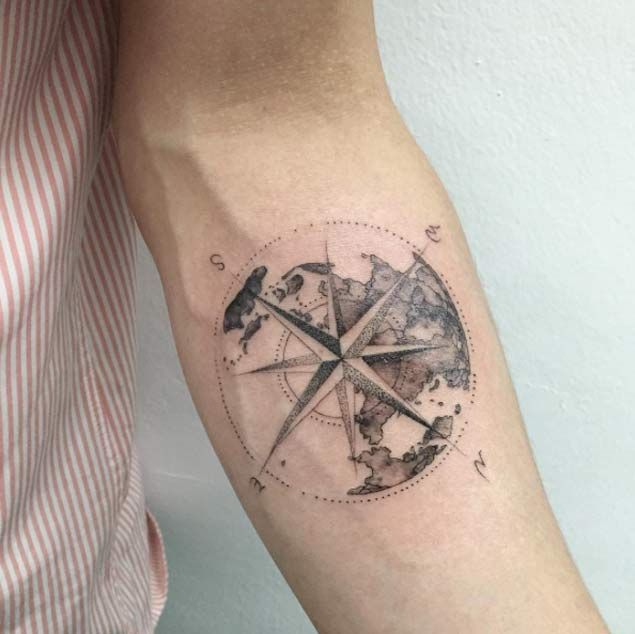 world and compass tattoo for men