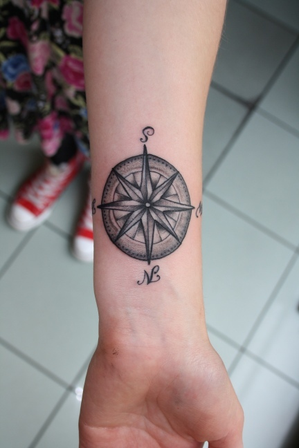 wrist compass tattoo for men