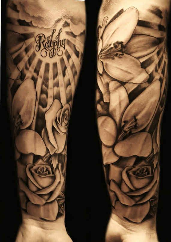 sunshine and flowers leg tattoo for guys