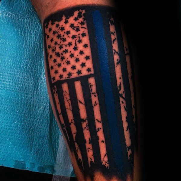 blue accent american flag tattoo for men