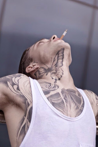 butterfly neck tattoo for men