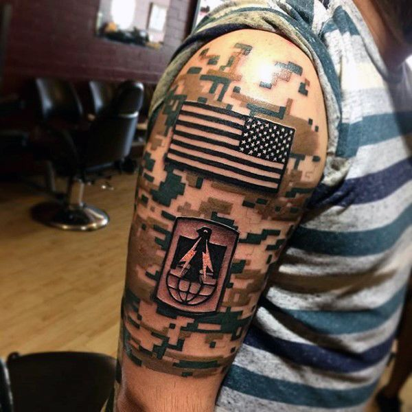 camo and american flag tattoo for men