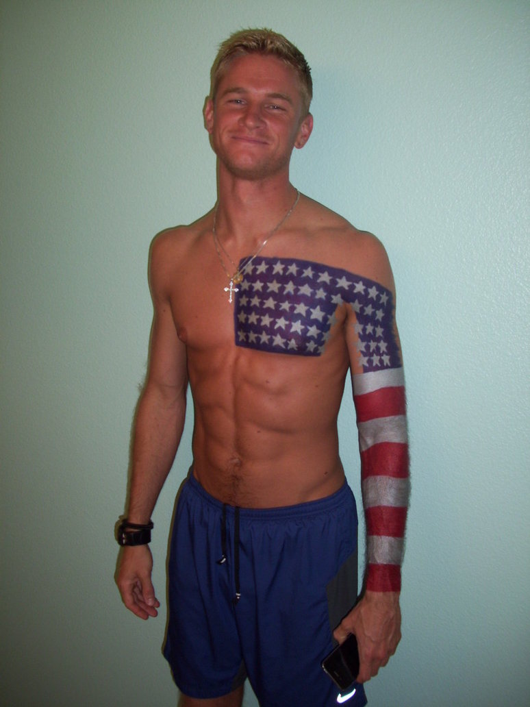 chest and arm american flag tattoo for men