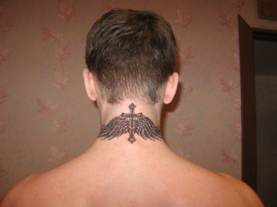 cross and angel wings neck tattoo for men