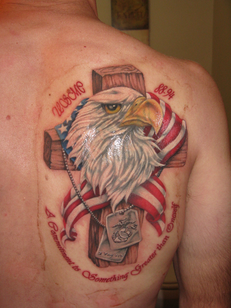 eagle and cross memorial american flag tattoo for men