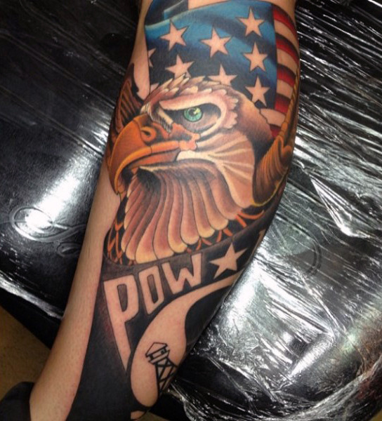 eagle pow american flag tattoo for men
