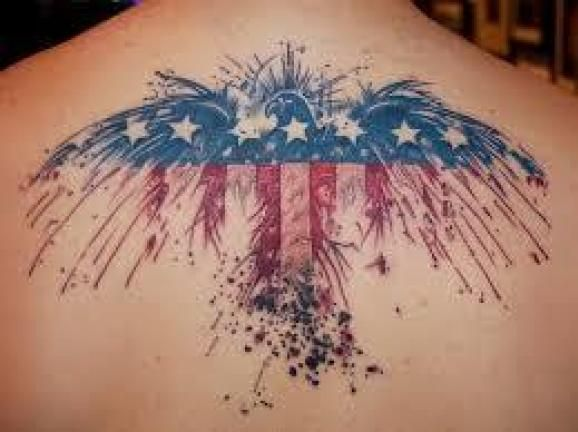 eagle shaped american flag tattoo for men