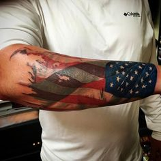 eagle wing american flag tattoo for men