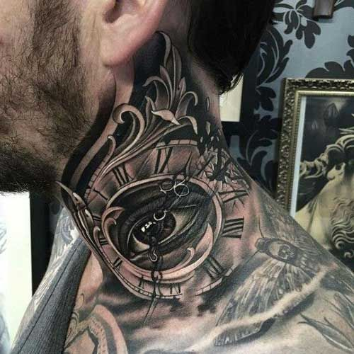 eye and clock neck tattoo for men