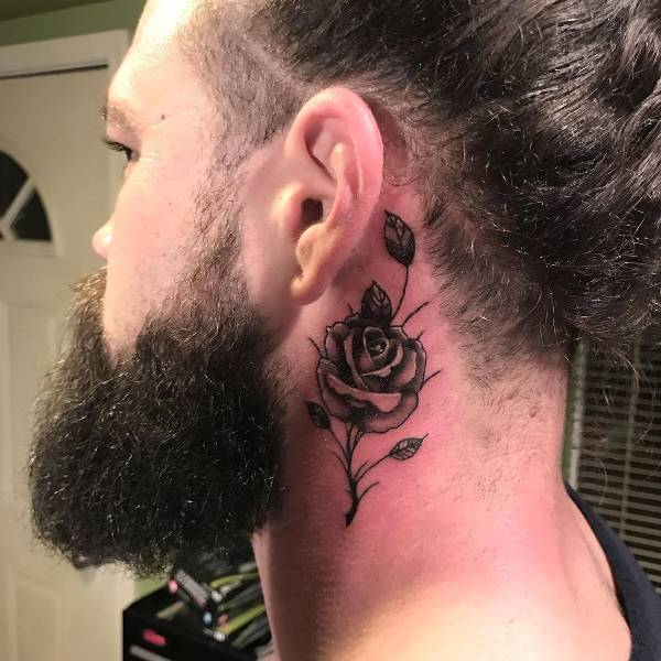 flower neck tattoo for men